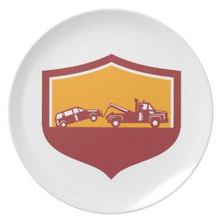 Plato Escudo del coche de remolque de la grúa retro