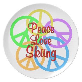 Plato Esquí del amor de la paz