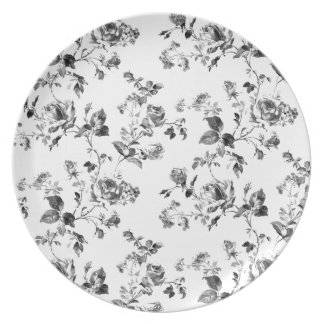 Plato Estampado de flores blanco y negro de los rosas