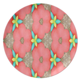 Plato Estampado de flores rosado con el basketweave