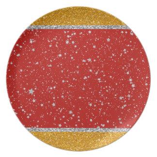 Plato Estrellas del purpurina - rojo de plata