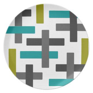 Plato Extracto azul, verde, gris retro