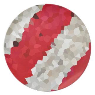 Plato Extracto rojo y blanco del día de fiesta de