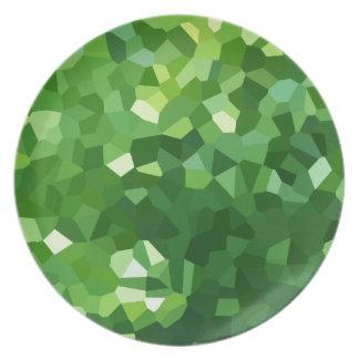 Plato Extracto verde del mosaico del vitral de la forma
