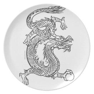 Plato Fantasía del este del dragón del bosquejo chino