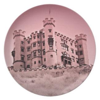 Plato Feliz nunca después de placa rosada del castillo