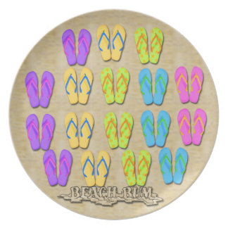 Plato Flips-flopes del vago de la playa
