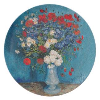 Plato Flor de Van Gogh y de Elizabeth - postre y cena