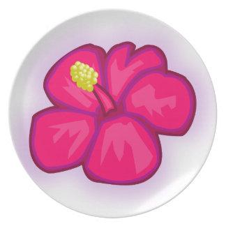 Plato Flor rosada de Hawaii