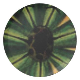 Plato flores verdes del pétalo