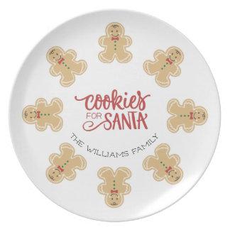 Plato Galletas del hombre de pan de jengibre para Santa