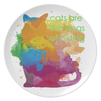 Plato Gato del gatito de la pintura de la salpicadura