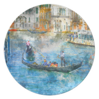 Plato Góndolas en el Gran Canal en Venecia Italia