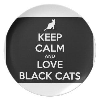 Plato Guarde la calma y ame los gatos negros