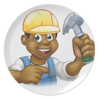 Plato Hombre del martillo del carpintero de la manitas