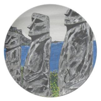 Plato Hombres de la piedra de la isla de pascua