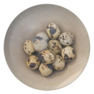 Plato Huevos de codornices en un cuenco