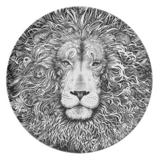 Plato Jerarquía del león blanco y negro