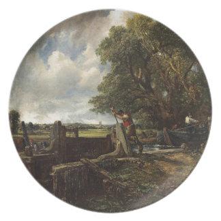 Plato John Constable - la cerradura - paisaje del campo