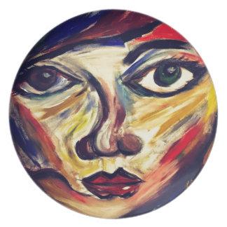 Plato La cara de la mujer abstracta