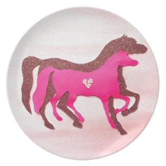 Plato La mano diseñó la placa rosada de la melamina del