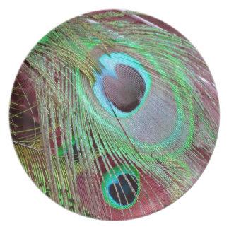 Plato La pluma que fluye del pavo real del ojo azul