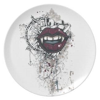 Plato labios de Drácula del vintage