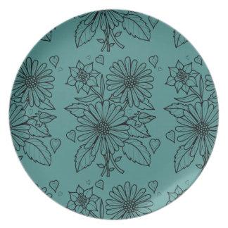 Plato Línea floral diseño del aerosol del arte