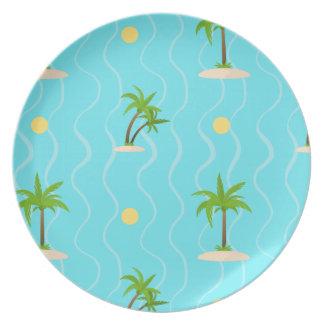 Plato Líneas onduladas modelo de las palmeras