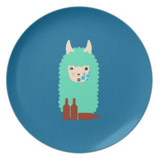Plato Llama borracha divertida Emoji