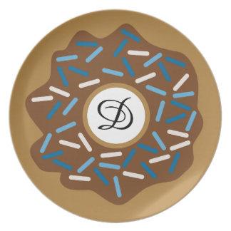 Plato Los anillos de espuma del invierno con el azul