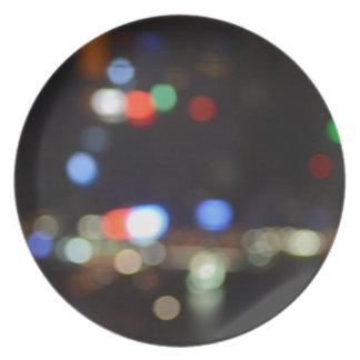 Plato Luces borrosas de la noche de Hong Kong