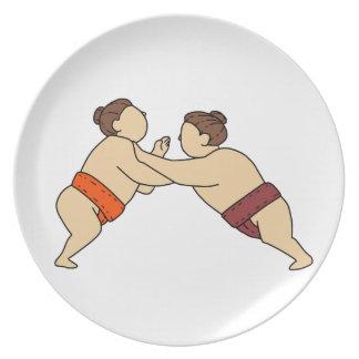 Plato Luchador del sumo de Rikishi que empuja la mono