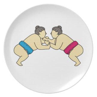 Plato Luchadores del sumo de Rikishi que luchan la mono