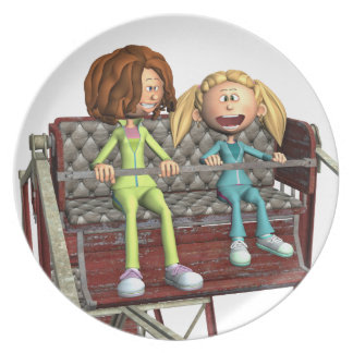 Plato Madre e hija del dibujo animado en una noria