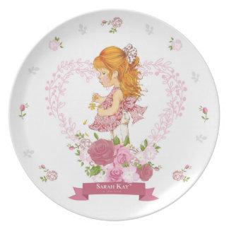 Plato Magenta de la placa #4 de la porcelana de Sarah