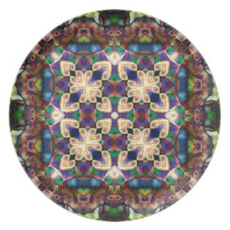 Plato Mandala céltica del vitral del corazón del arco