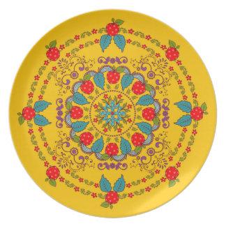 Plato Manzanas y placa floral de la melamina del ~