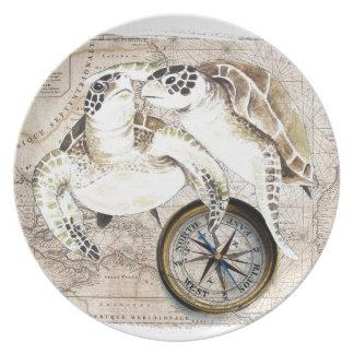 Plato Mapa de compás de las tortugas de mar