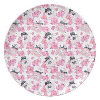 Plato Moda rosada Parfume de las flores
