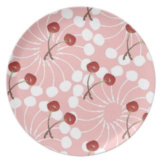 Plato Modelo de los pares de la cereza (chocolate blanco