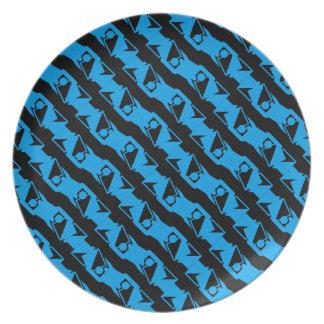 Plato Modelo elegante azul negro y azul único y fresco