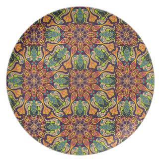 Plato Modelo floral étnico abstracto colorido de la