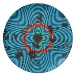 Plato Modelo multicolor azul de la textura del disco del