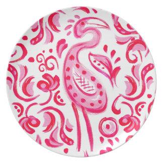 Plato Modelo rosado enrrollado de Flamigo Paisley