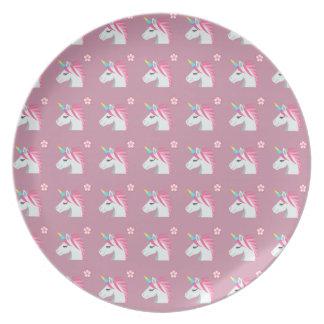 Plato Modelo rosado femenino lindo de Emoji de la flor