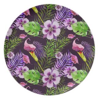 Plato Modelo tropical púrpura negro de la acuarela de la