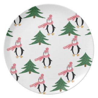 Plato Mollete del pingüino del navidad