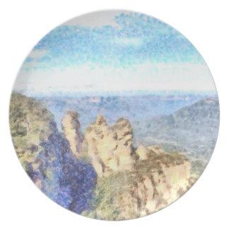 Plato Montañas rugosas y hermosas
