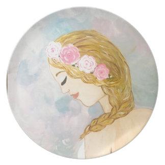 Plato Mujer con las flores en su pelo